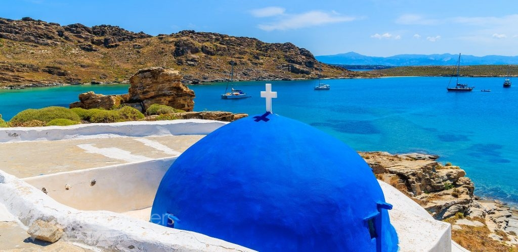 Blue dome of typical Greek church Paros Island