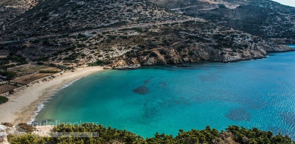 Kedros beach Donoussa Greece from above