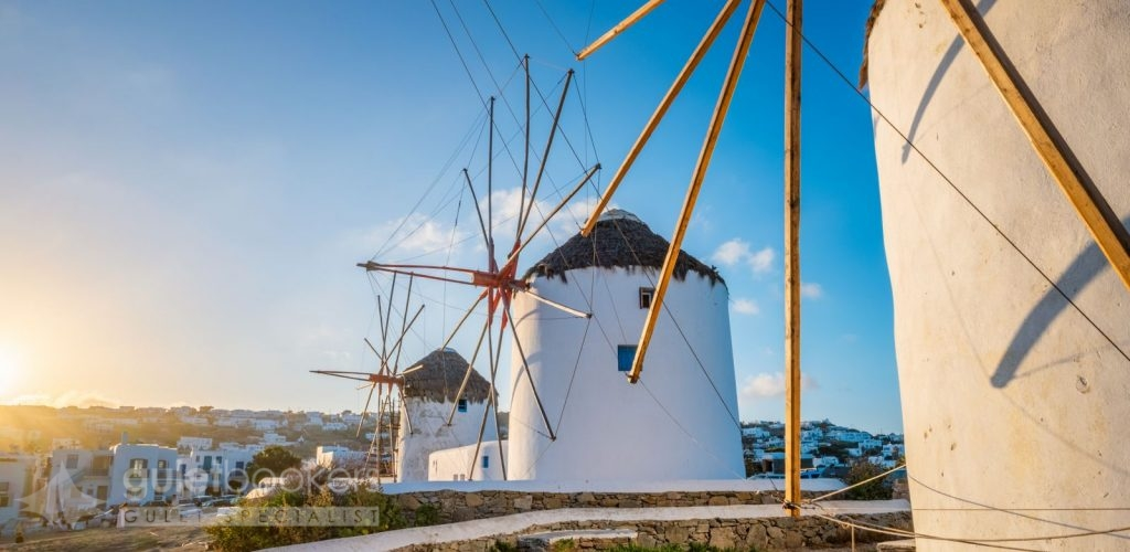 Famous Mykonos Chora town windmills