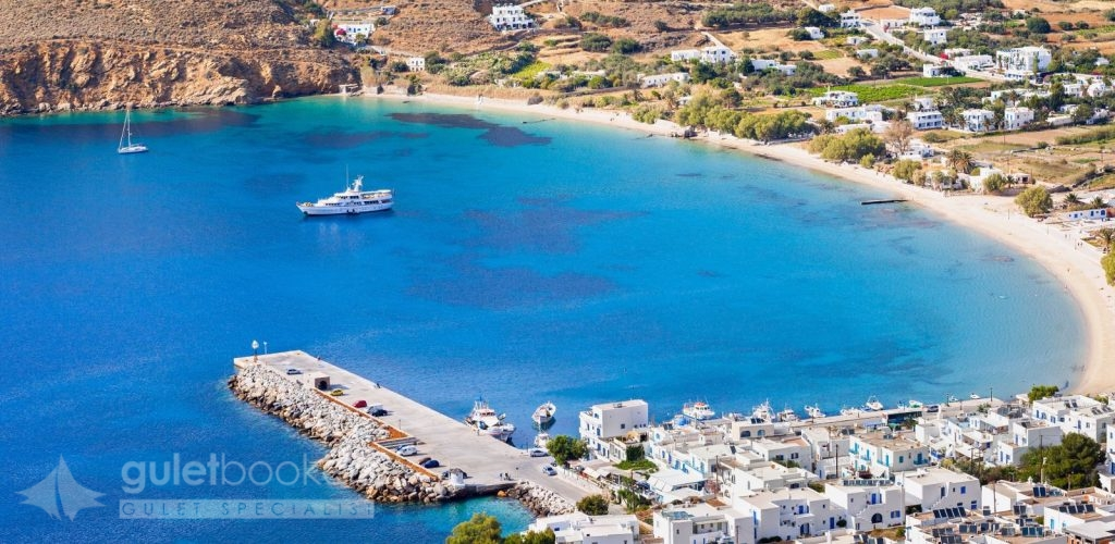 View of the Aegiali beach, Amorgos island, Greece