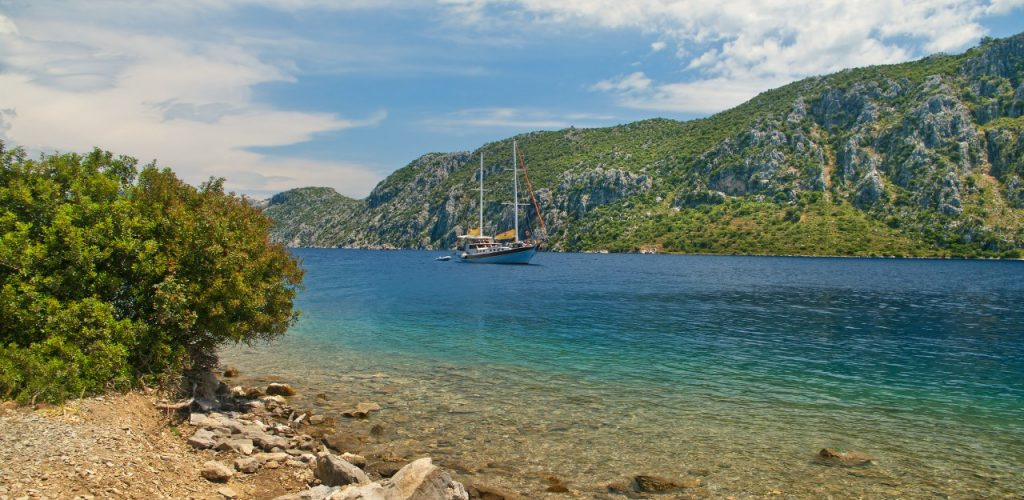 Hisaronu bay in Aegean sea